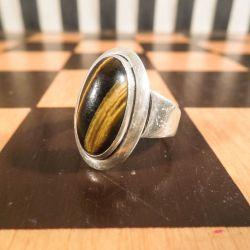 Vintage finger-ring fra N.E.From med tigerøje-sten & sterling sølv!