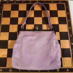 Udsøgt vintage Bon Gout håndtaske i syren-farvet ruskind.