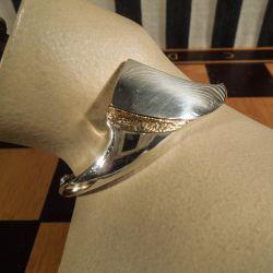 Vintage sølvarmbånd belagt med guld. Design: N. E. From.