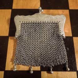 Antik sølv-taske i gammel æske fra Magasin.