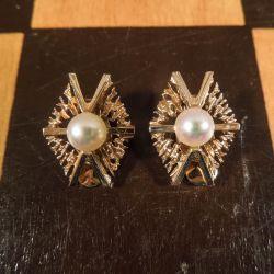 Vintage øreclips i guld med ægte perle fra Viggo Wollny!
