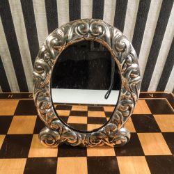 Antik bordspejl i den smukkeste sølvramme!!