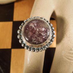 Vintage kæmpe-ring i sterling sølv med ametyst!