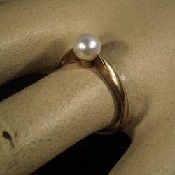 Vintage guld ring med Akoya perle!