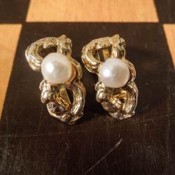 Vintage øreclips i forgyldt sterling sølv med perle fra Flora Danica!