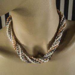Vintage perle-collier samlet af tre halskæder i forskellige farver!