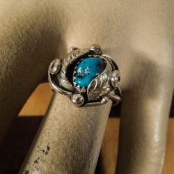 Vintage sølv ring med turkis sten