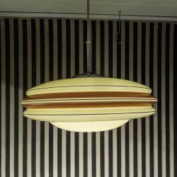 Smukkeste, vintage Art Deco UFO loftslampe i glas & chrom! (1930)