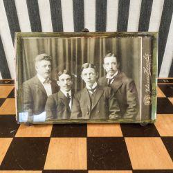 Antik billede ramme til bord med tykt facetslebet glas
