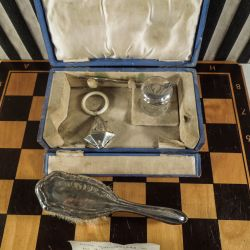 Vintage barnedåbs-sæt i sølv, foræret til en barnedåb i England