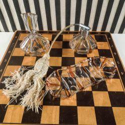 Vintage toilet garniture sæt  - Parfumedispenser, flakon & skål.