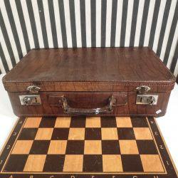 Vintage rejse-kuffert i læder