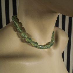 Vintage halskæde med store perler af agat-sten fra Poul Erik Fenster!
