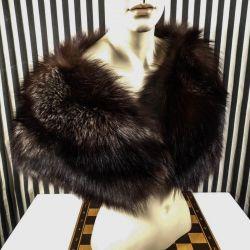 Vintage stola af polar-ræv & silkesatin i suveræn kvalitet!