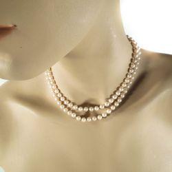 Vintage perlekæde af Majorica-perler.