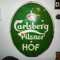 Vintage Carlsberg emalje-skilt - ovalt!