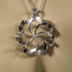Vintage halskæde med N.E Froms store sølv blomst!