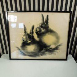 Vintage tryk med motiv af kaniner i lækre farver