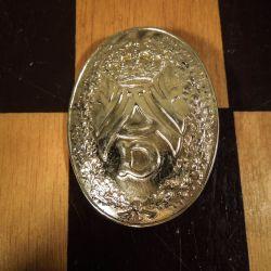Vintage, fint udført kæmpebroche/emblem i forgyldt sølv!