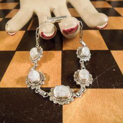 Vintage armbånd i sølv med månesten!