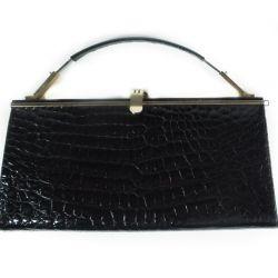 Sort vintage krokodille-skinds taske!