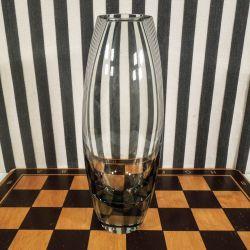 Vintage røgfarvet vase fra Holmegaard designet og signeret af Per Lutken