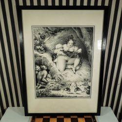 Vintage tryk fra midten af forrige århundrede af antik erotisk motiv!