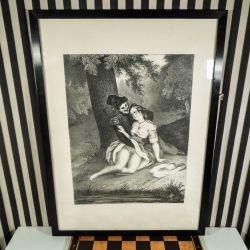 Tryk fra 1950´erne af humoristisk erotisk motiv fra 1800-tallet!