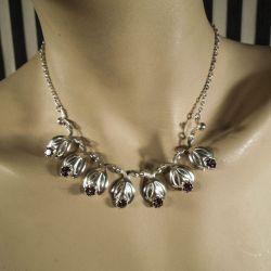 Super lækker vintage halskæde i sølv fra Siersbøl med rosa sten!