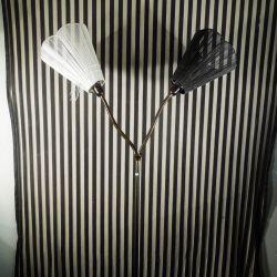 Vintage Tivoli gulvlampe med to arme - sort & hvid skærme. Super cool!! - top!