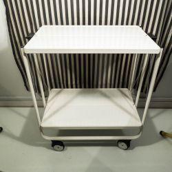 Vintage bar/serverings-vogn i hvidlakeret metal! Sammenklappelig!