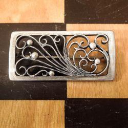 Antik  håndlavet broche i sølv fra C. Brumberg Hansen