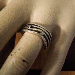 Lækker vintage ring i delvist forgyldt sterling sølv fra Aagaard med zirkoner