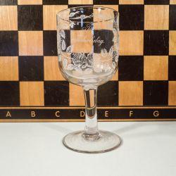 """Smuk antik erindrings-glas fra Kastrup Glasværk """"Til Fødselsdag"""""""