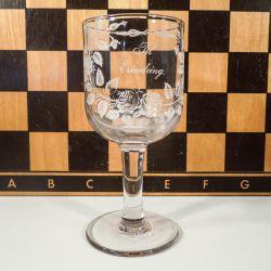 "Smukt antik erindrings-glas ""Til Erindring"""