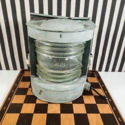 Vintage skibs-lanterne - perfekt patineret bemalet kobber!