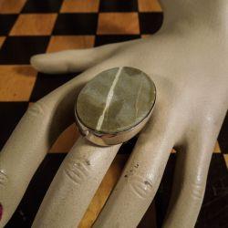 Vintage kæmpe statement ring i sterling sølv med agat! - ramme
