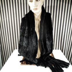 Luksus kæmpe tørklæde i strikket nat-sort mink med frynser!