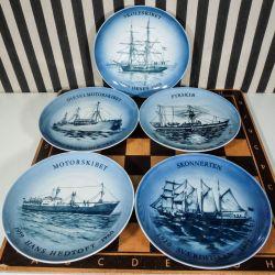 Samling af 5 skibsplatter fra Bing & Grøndahl!