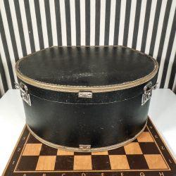 Vintage hatte-æske i sort stift papirs-materiale beklædt med stof-for!
