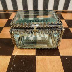 Smuk, antik fransk glas skrin med messing kant og spejl bund!