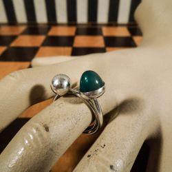 Meget smuk vintage ring i sterling sølv med chrysopras antageligt N.E. From