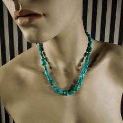 Smukkeste vintage halskæde i ægte turkis fra Poul Erik Fenster med lås af forgyldt sølvfiligran!