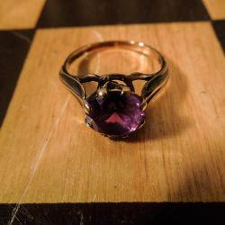 Vintage ring fra Siersbøl i otte karat guld med lilla sten!