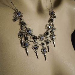 Vidunderlig, antik halscollier fra Bernhard Hertz i sølv & natblå emalje