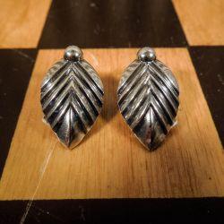 Smukkeste vintage blad øreclips i sterling sølv fra From!
