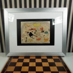 Dekorativ vintage tuschtegning med akvarel!