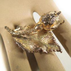 Smuk Flora Danica rosenknop broche - forgyldt sterling sølv.