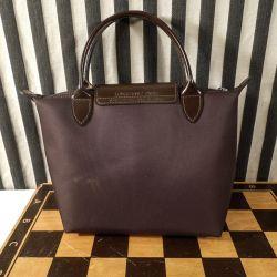 Lækker brun vintage mini-shoppe/håndtaske fra Longchamps! Bagside!