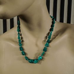 Vintage halskæde med de smukkeste grønne turkiser fra P. E. Fenster!